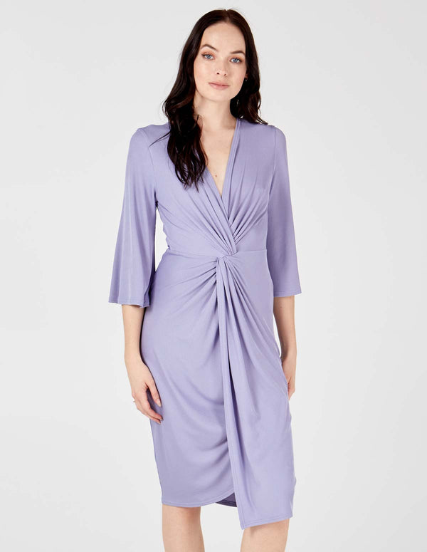 HAYDEN - Lilac Twist Front Midi Dress