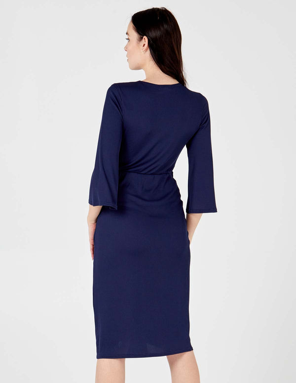 HAYDEN - Navy Twist Front Midi Dress