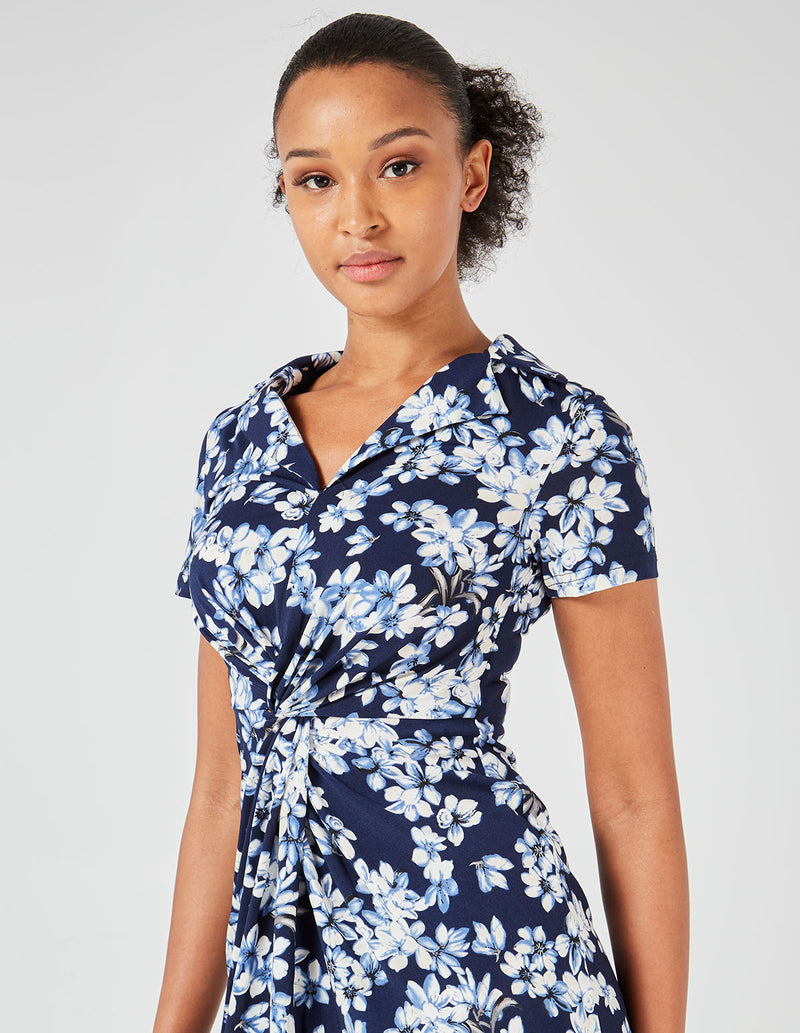 MACIE - Collared Twist Front Floral Print Midi Navy Dress