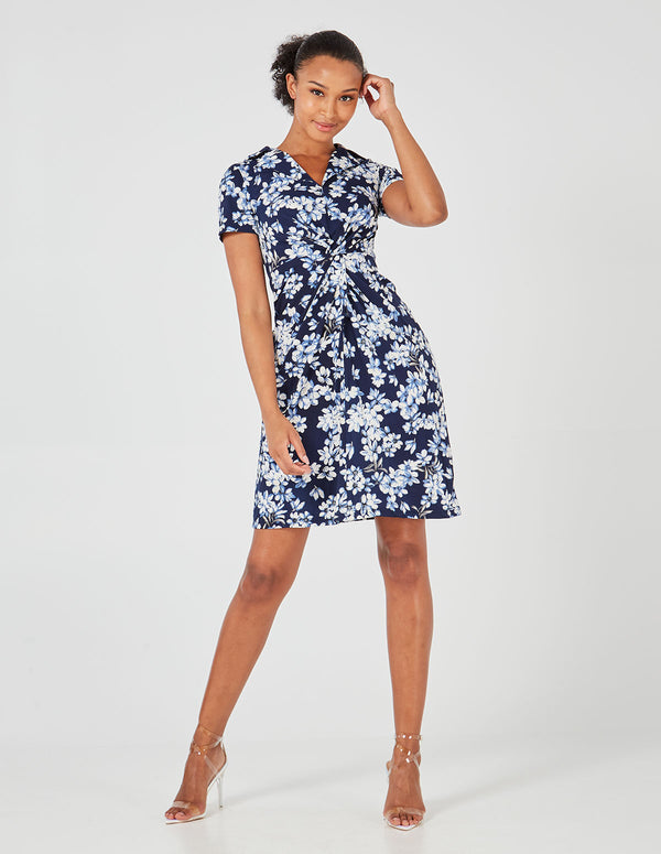 MACIE - Collared Twist Front Floral Print Dress