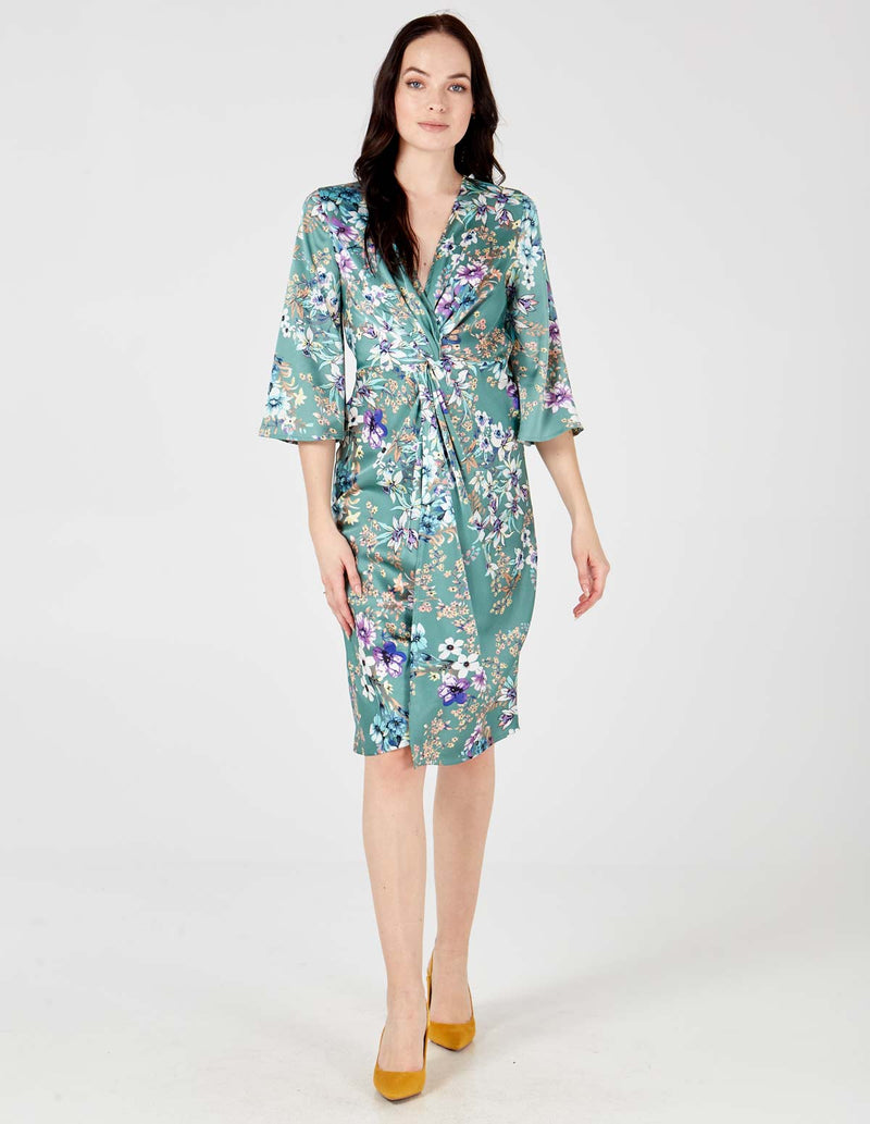 KATYA - Mint Flower Twist Front Midi Dress