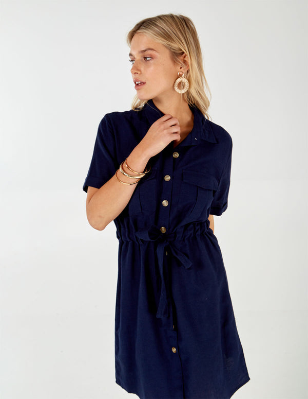 NERISSA - Navy Button Through Shirt Dress