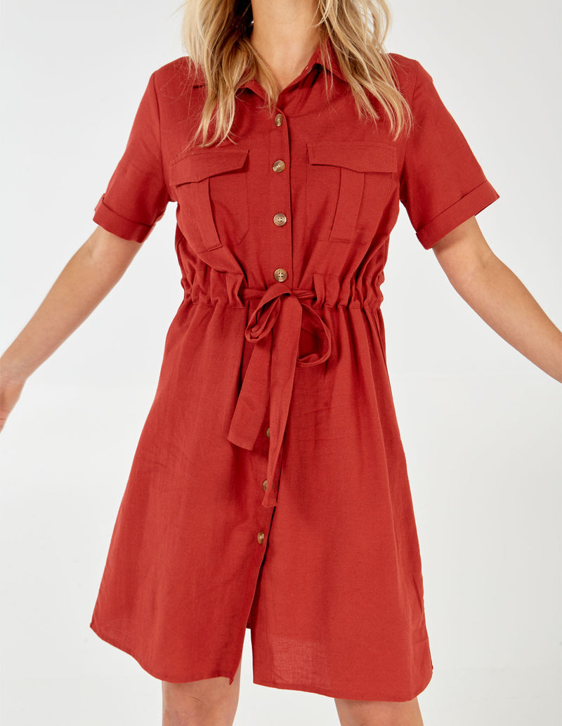 NERISSA - Rust Button Through Shirt Dress