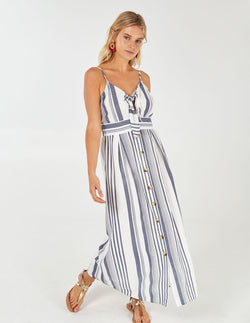 GODELINA - Blue/White Button Through Midi Dress
