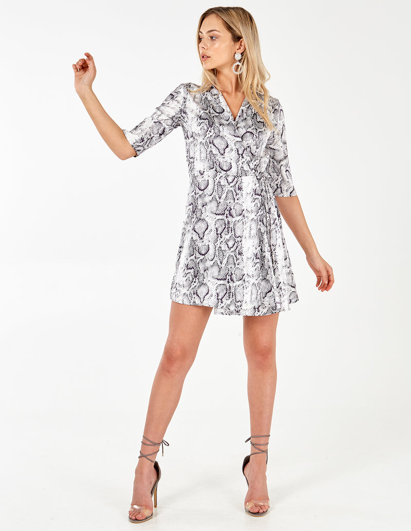 JOANNA - Grey Snake Short Sleeve Wrap Dress