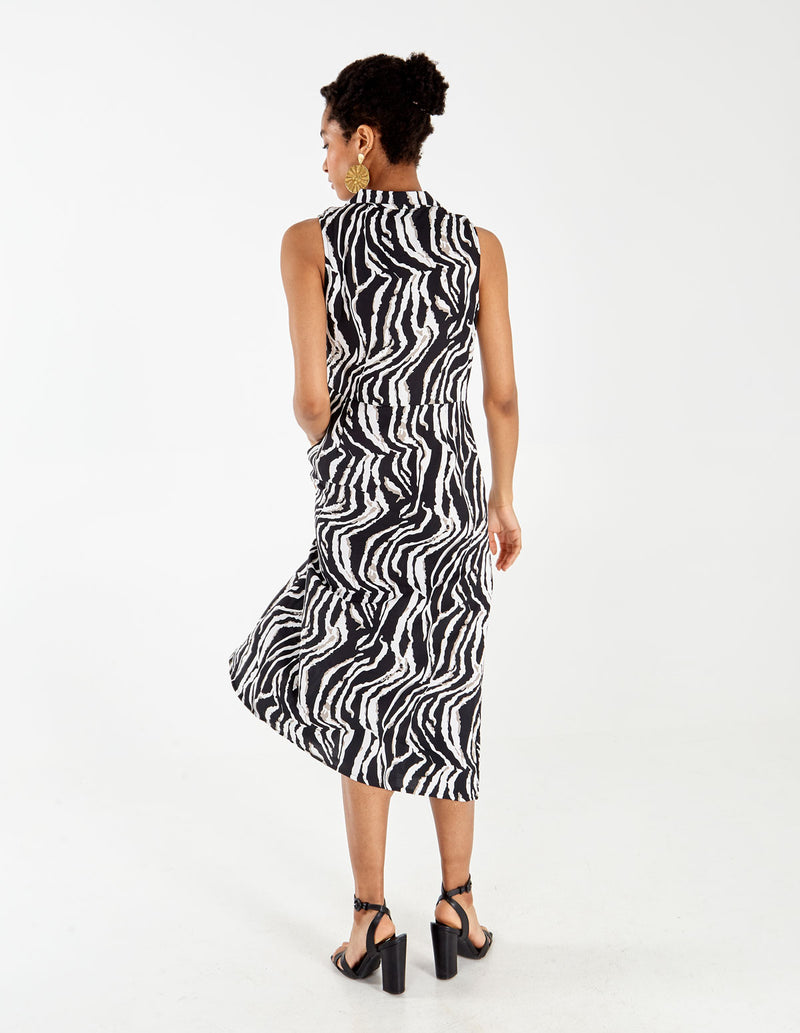 AMINA - Zebra Shirt Dress