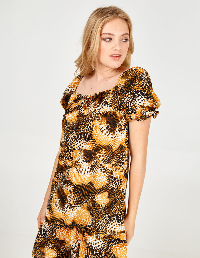AKIRA - Animal Square Neck Puff Slv Dress