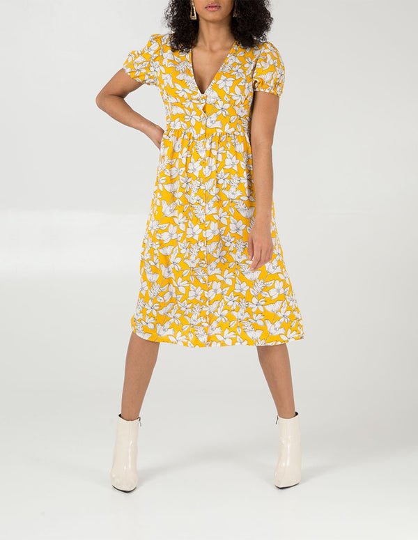 REMI - Button Through Midi Lemon Dress