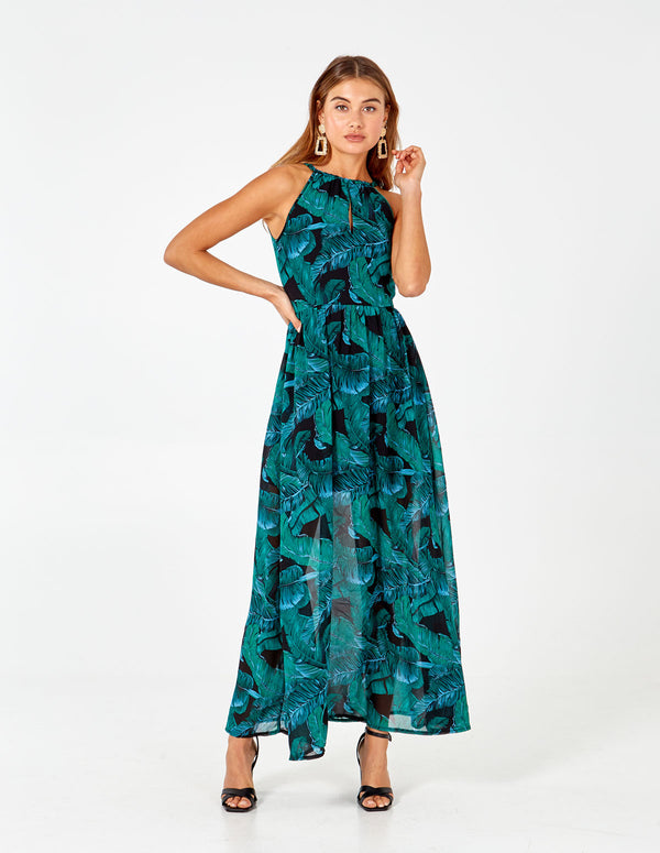 EVE - Leaf Printed Maxi Dress