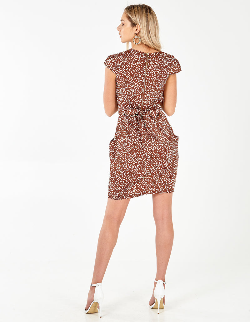 DACEY - Animal Print Wrap Front Tulip Dress