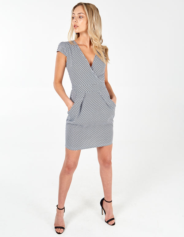 GEORGINA - Geometric Wrap Front Tulip Dress