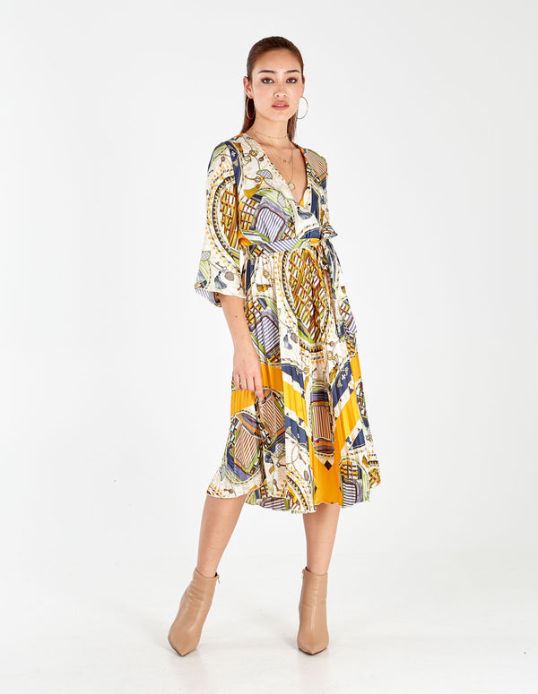 ANNETTE - Pleated Chain Print Midi Dress