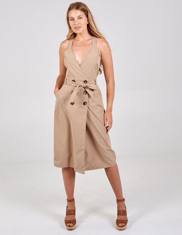 AGNES - Stone Front Belted Wrap Dress