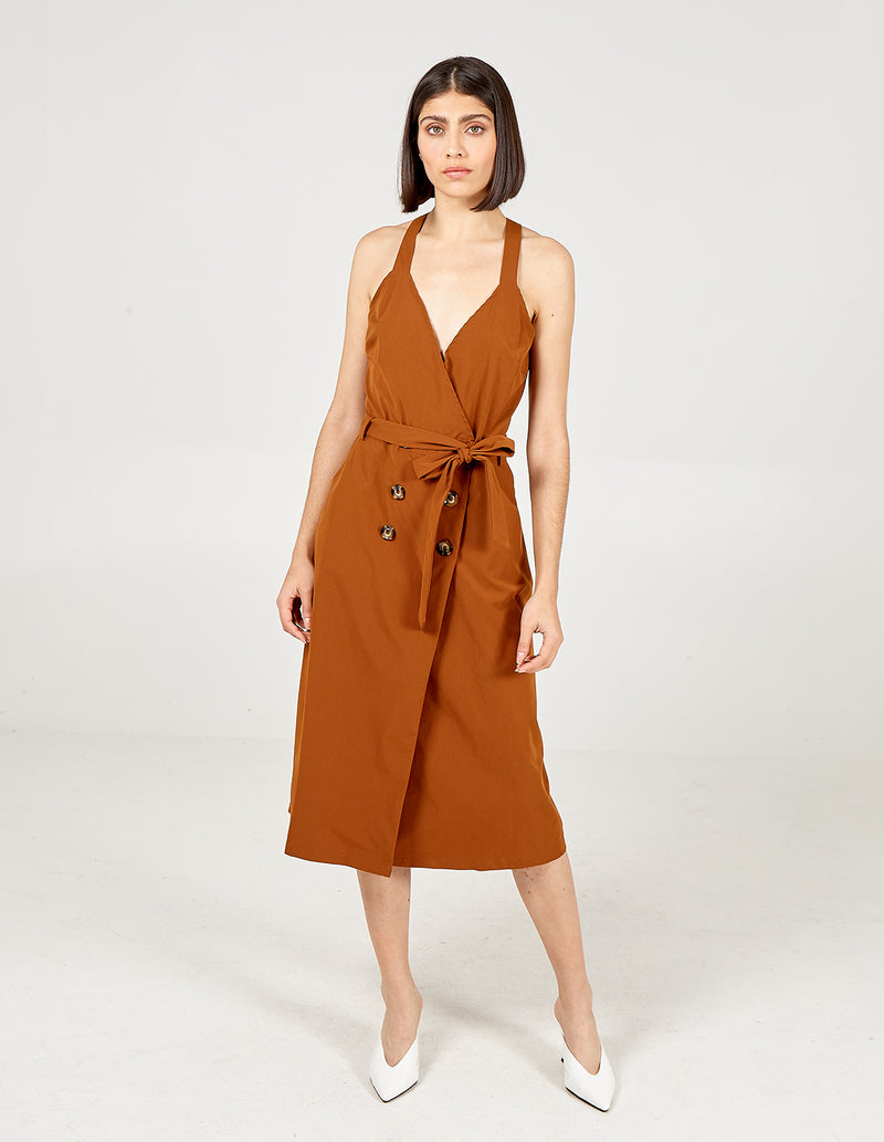 AGNES - Tan Front Belted Wrap Dress