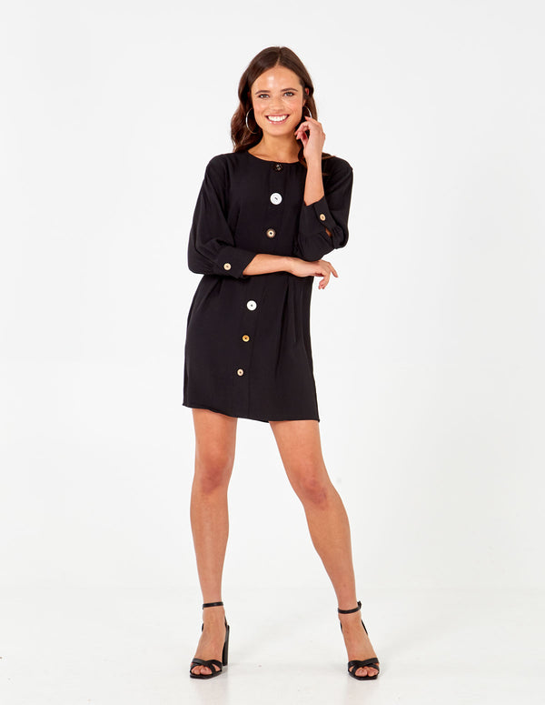 MATTIE - Long Sleeve Button Through Mini Black Dress