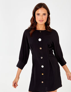 MATTIE - Black Long Sleeve Button Through Dress