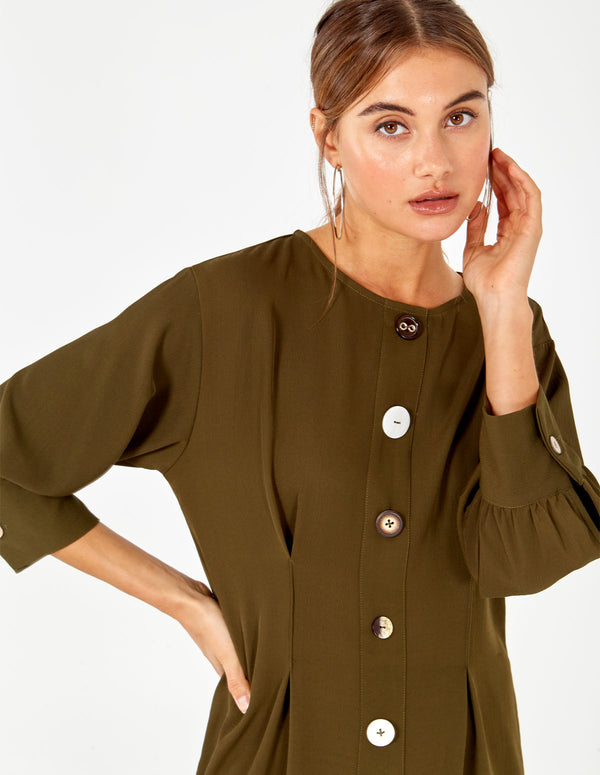 MATTIE - Long Sleeve Button Through Mini Khaki Dress