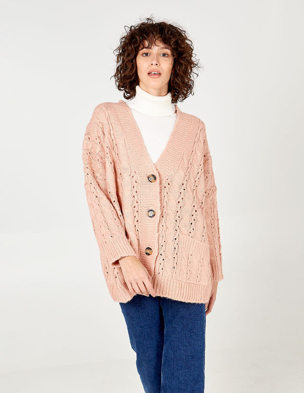 LACEY - Oversized Patch Pocket Cardigan
