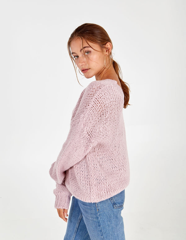 BETHANY DOUBLE V-NECK BLUSH JUMPER