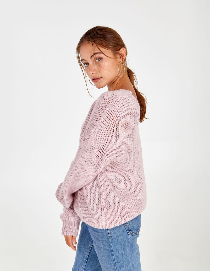 BETHANY - Double V-Neck Blush Jumper