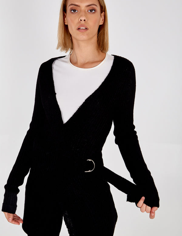 AISHA - Solid Black D-Ring Wrap Cardigan