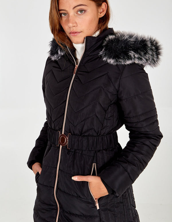 HARRIET - Mix Quilt Belted Puffer Coat