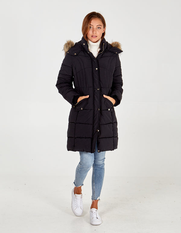 ORLA - Black Mixed Quilt Long Puffer Jacket