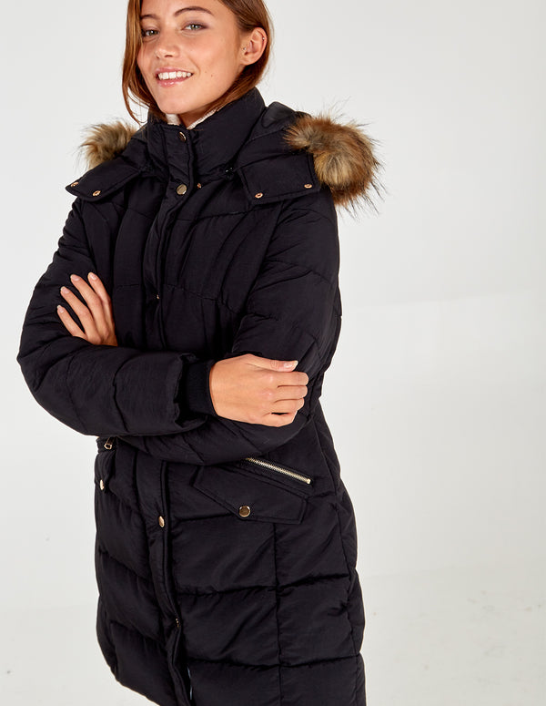 ORLA BLACK MIXED QUILT LONG PUFFER JACKET