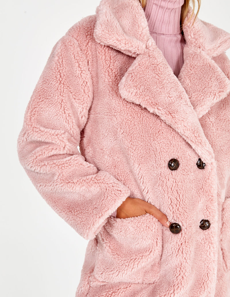 TILLY  - Pink Drop Shoulder Double Breasted Teddy Coat