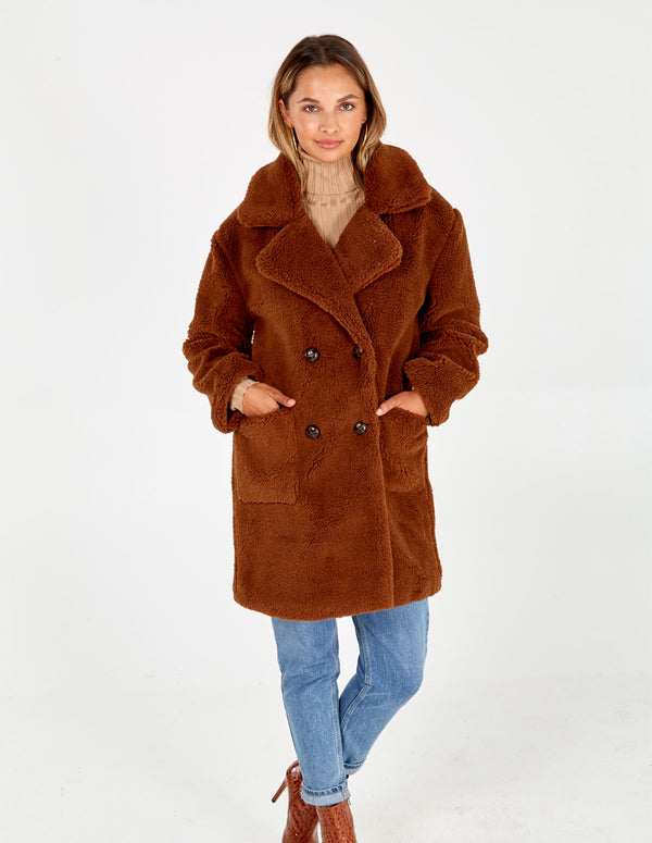 TILLY - Tan Drop Shoulder Double Breasted Teddy Coat
