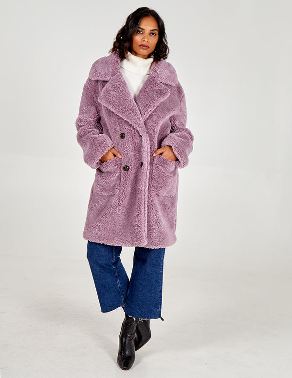 TILLY  - Lilac Drop Shoulder Double Breasted Teddy Coat