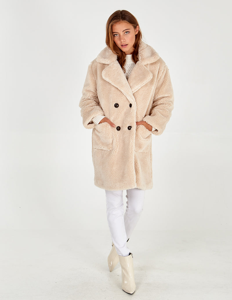 TILLY -  STONE DROP SHOULDER DOUBLE BREASTED TEDDY COAT