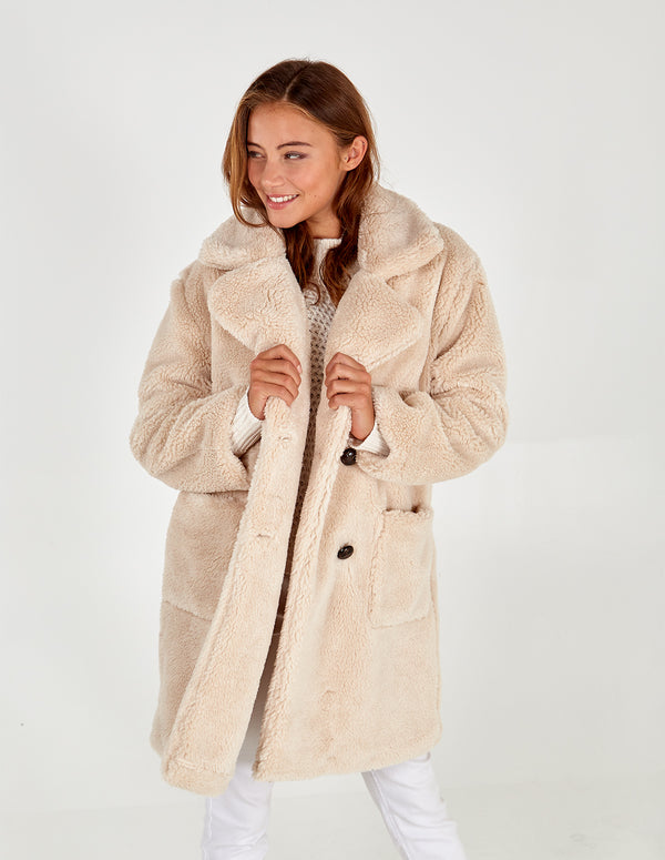 TILLY -  Cream Drop Shoulder Double Breasted Teddy Coat