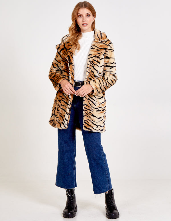 AYLA - Tiger Print Fur Coat