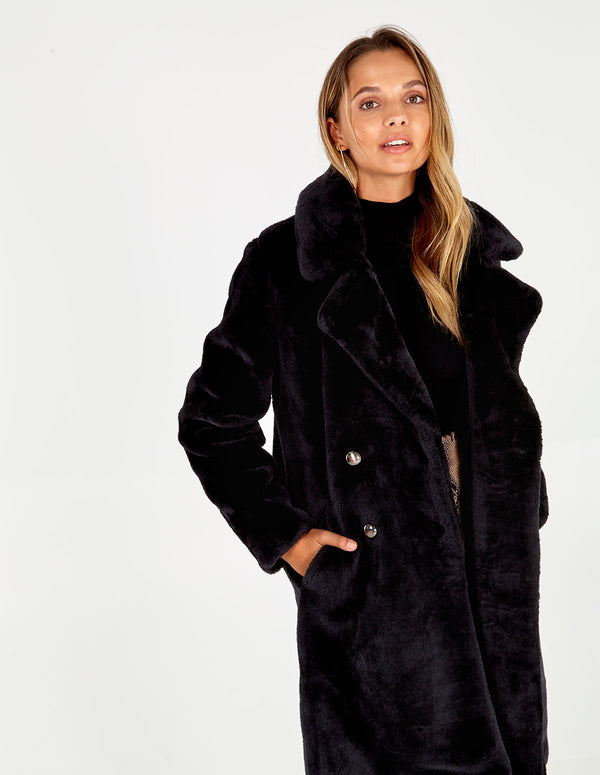 FRANKIE - Button Front Fur Trim Midi Coat