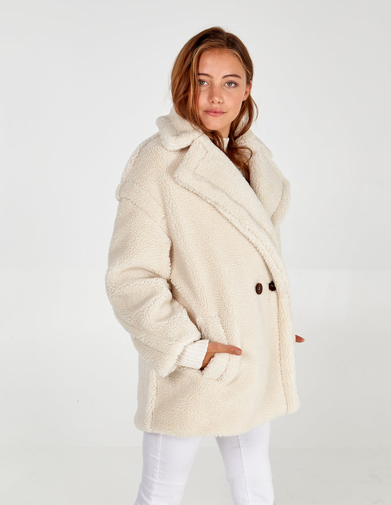 LOIS - Double Breasted Short Borg Coat