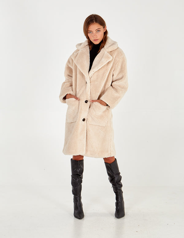 CAITLIN - Longline Patch Pocket Teddy Coat