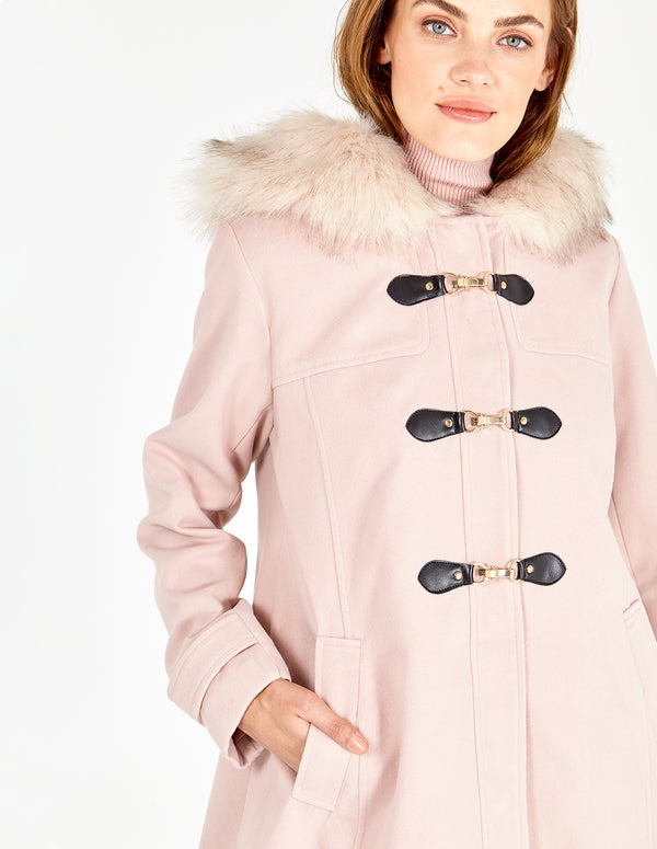 OLIVE -  Nude Clasp Front Duffle Coat