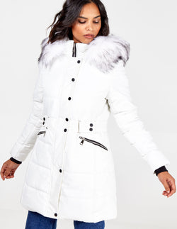 ROSA - Belt Detail Faux Fur Hooded Puffer Coat