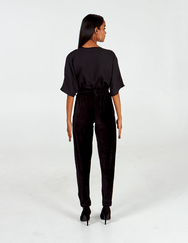 ROMILLY - Babycord Paperbag Waist Black Trousers