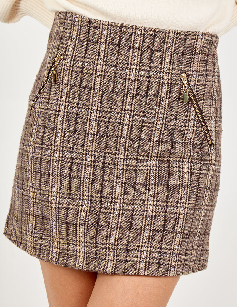 ALEENA - Zip Pocket Metallic Checked Mini Skirt