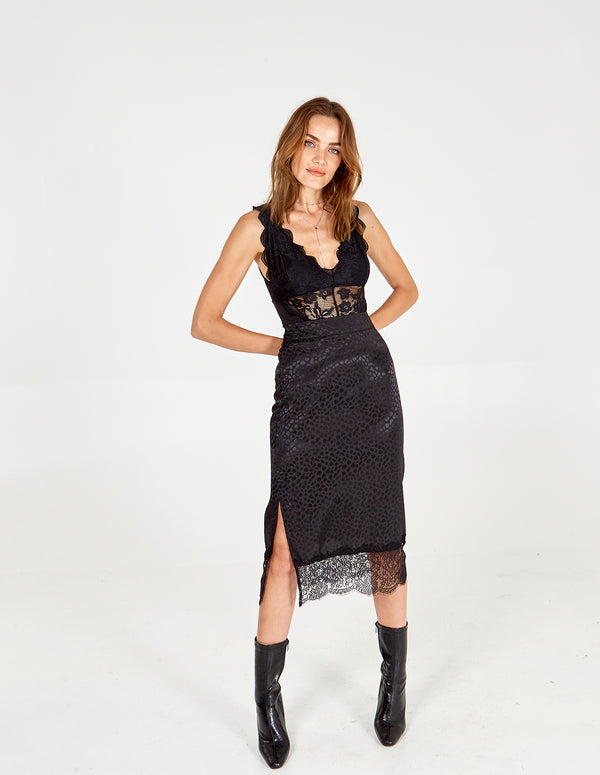 MAGGIE - Black Lace Hem Skirt