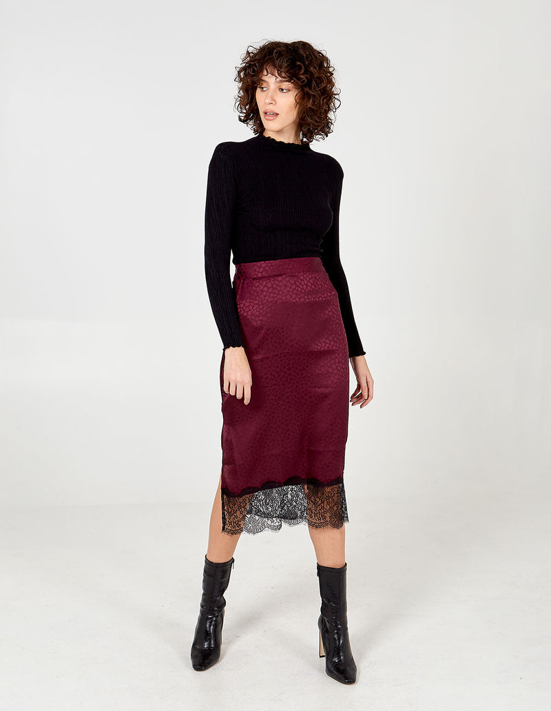 MAGGIE - Purple Lace Hem Skirt