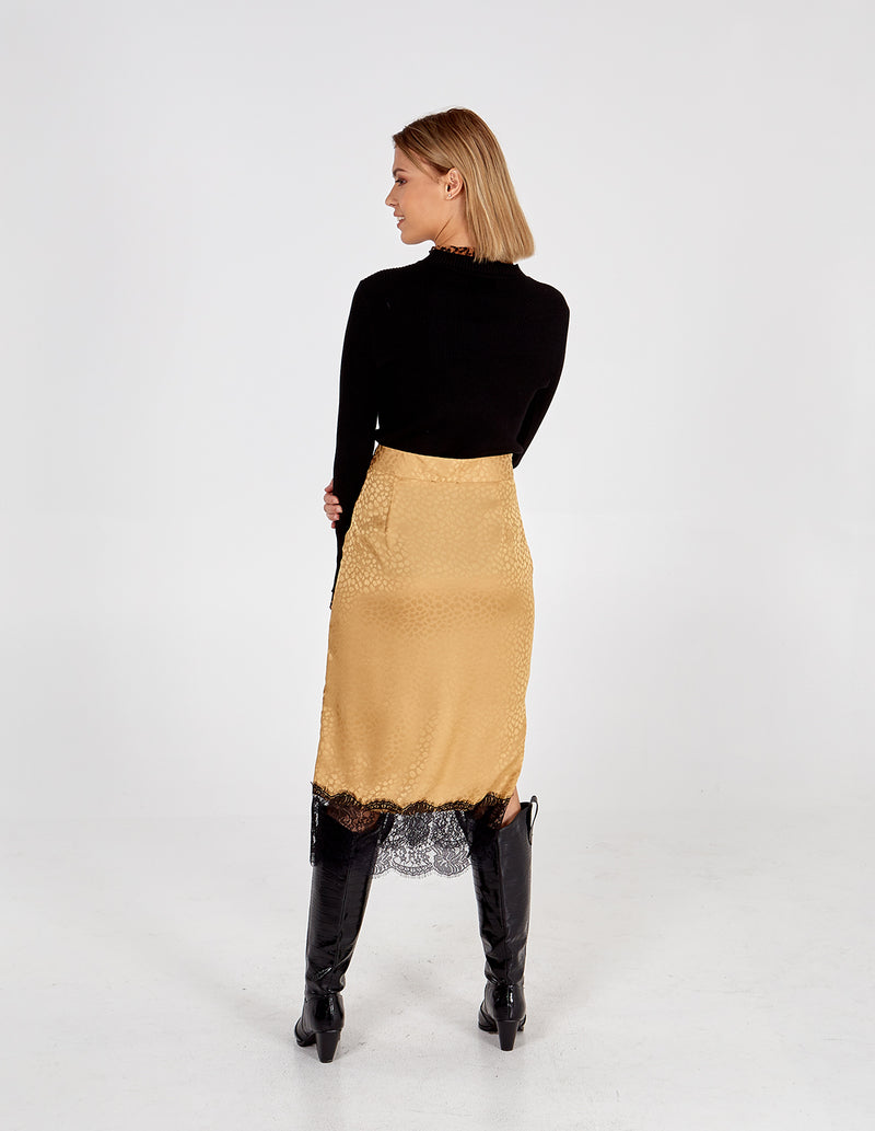 MAGGIE - Champagne Lace Hem Skirt