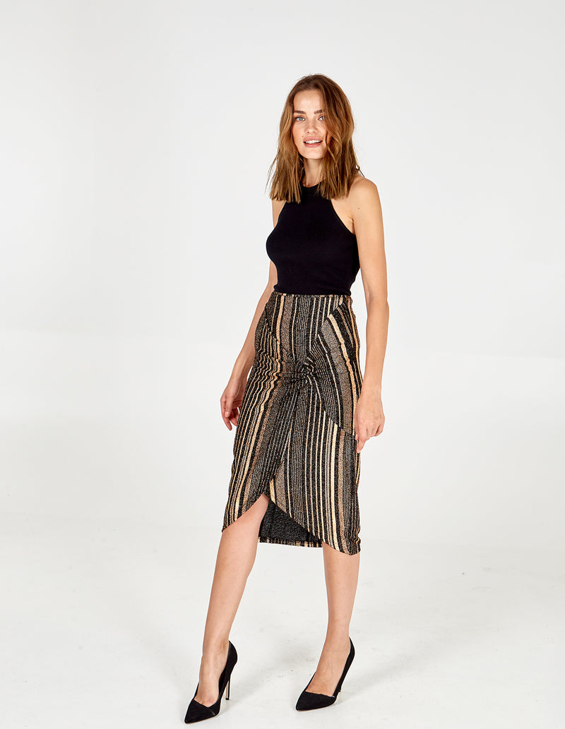 SCARLET - Foil Stripe Twist Midi Skirt