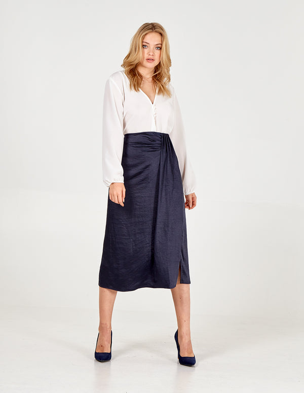 LEXIE - Pleat Front Navy Skirt