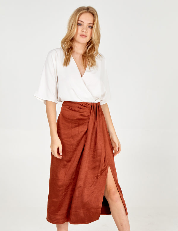 LEXIE - Pleat Front Midi Skirt