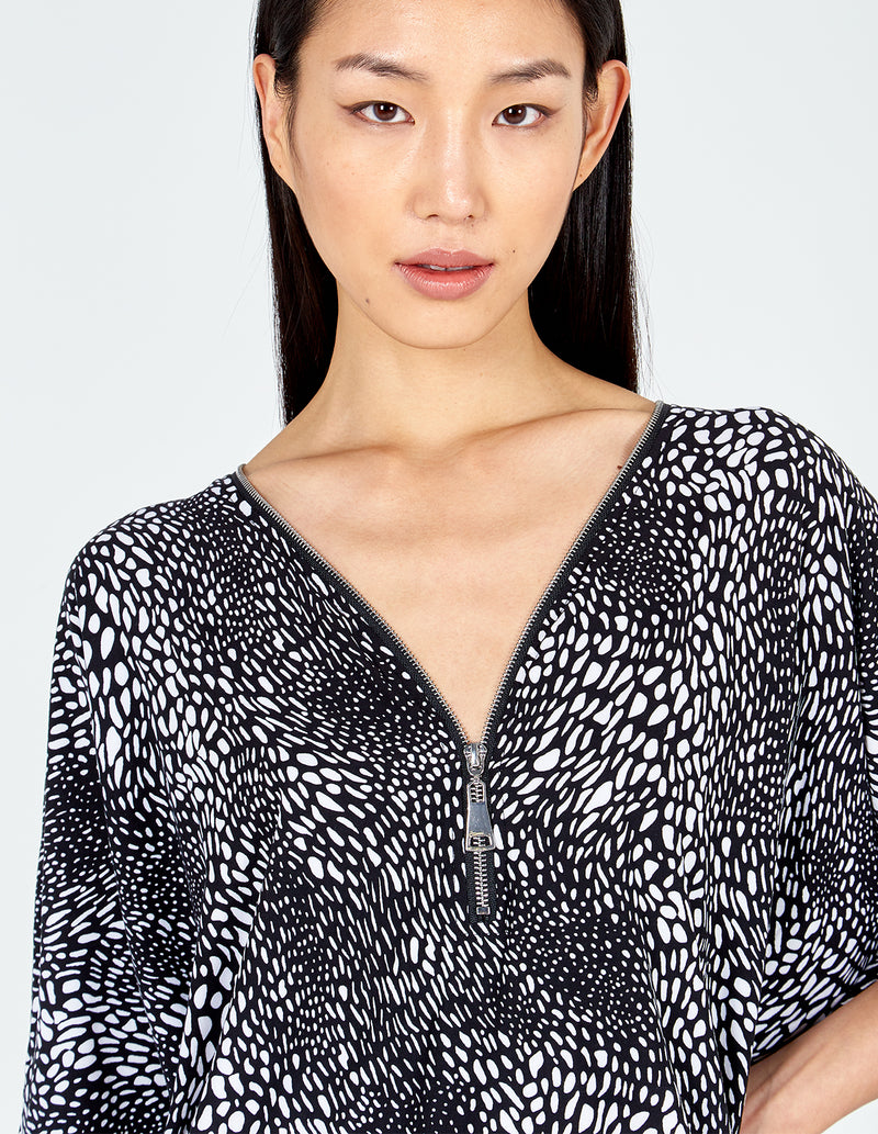 JENNIFER - Spot Print Zip Front Top