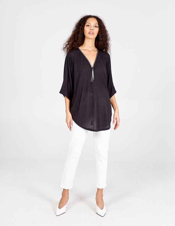 EMILIA - Diamante Zip Front Top