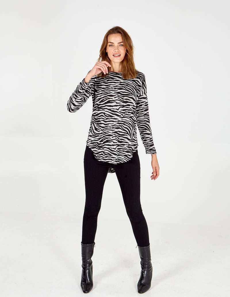 SYBIL - Zebra Diamante Zip Back Top